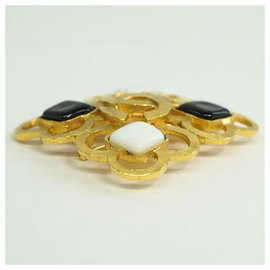 Chanel-CHANEL coco mark GP brooch black x white-Other