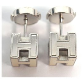 Hermès-HERMES H Cube ivory metal/ Palladium plated Womens Earrings-Other