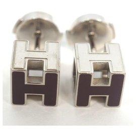 Hermès-HERMES H Cube dark purple metal/ Palladium plated Womens Earrings-Other