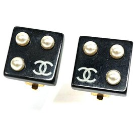 Chanel-CHANEL coco mark Costume Pearl Square GP resin Womens earrings black-Other