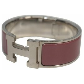 Hermès-HERMES Clic Clac GM enamel x Palladium plated bangle violet x silver-Other