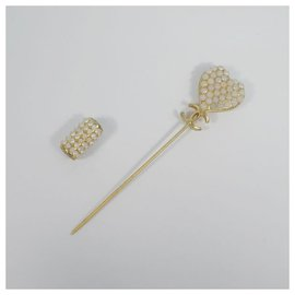 Chanel-CHANEL pin brooch coco mark heart GP brooch-Other