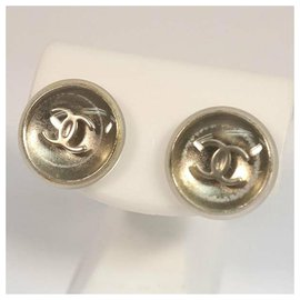 Chanel-CHANEL coco mark round metal plastic Womens Earrings A11780Y02019 silver-Other