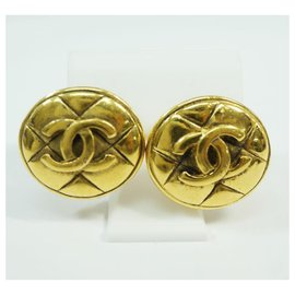 Chanel-CHANEL round-shaped coco mark GP Womens earrings gold-Other