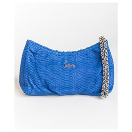 Christian Louboutin-python bag on chain-Blue