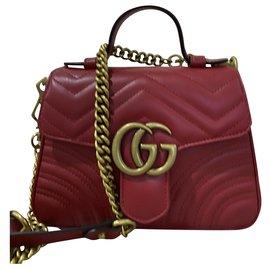 Gucci-Sac bandoulière en cuir matelassé GG Marmont mini-Rouge