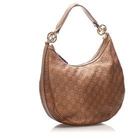 Gucci-Gucci Brown Guccissima Twins Hobo Bag-Marron