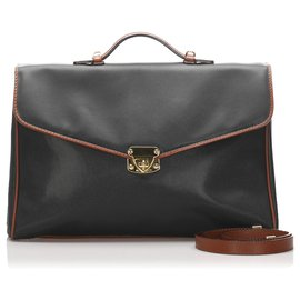 Bottega Veneta-Bottega Veneta Black Leather Briefcase-Black