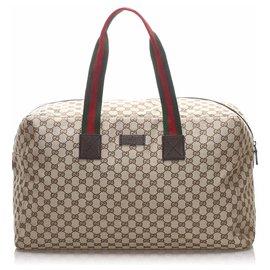 Gucci-Sac de voyage en toile Gucci Brown GG Web-Marron,Multicolore,Beige