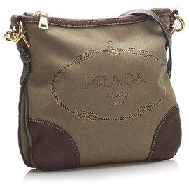 brown crinkly prada bag