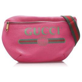 Gucci-Gucci rose 2018 Sac banane en cuir à logo-Rose