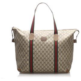 Gucci-Gucci Brown GG Supreme Web Travel Bag-Marron,Multicolore,Beige