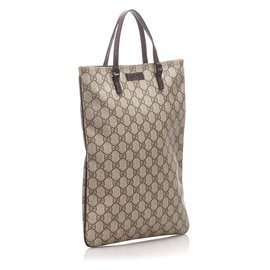 Gucci-Sac cabas en toile enduite Gucci Brown GG Supreme-Marron,Noir,Beige