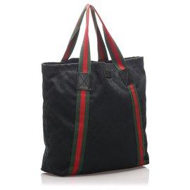 Gucci-Gucci Black GG Canvas Web Tote Bag-Noir,Multicolore
