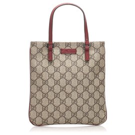 Gucci-Mini sac à main Gucci en toile enduite suprême marron GG-Marron,Rouge,Beige