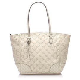 Gucci-Gucci Sac cabas en cuir Guccissima Bree blanc-Blanc