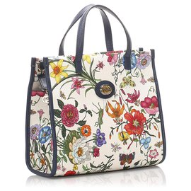 Gucci-Cartable Gucci en toile blanche Flora-Blanc,Multicolore,Écru