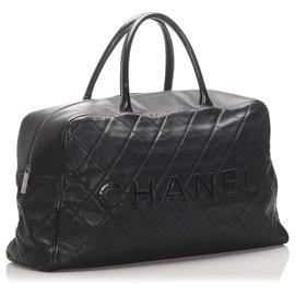Chanel-Chanel Black Caviar Travel Bag-Black