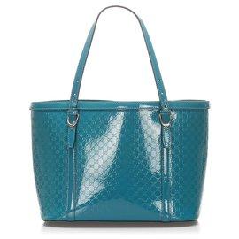 Gucci-Gucci Blue Microguccissima en cuir verni Joli sac cabas-Bleu