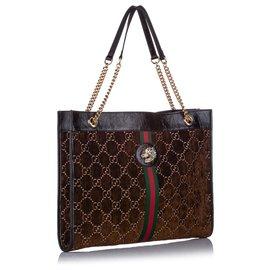 Gucci-Grand sac cabas en velours GG Rajah marron Gucci-Marron,Noir