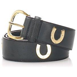 Gucci-Gucci Ceinture en cuir noir-Noir,Doré