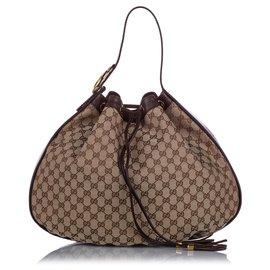 Gucci-Gucci Brown Sac Hobo en toile GG Icon-Marron,Beige