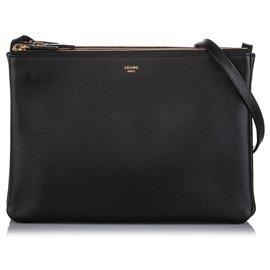 Céline-Celine Black Small Trio Leather Crossbody Bag-Black