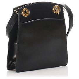 Gucci-Gucci Sac à bandoulière en cuir noir-Noir