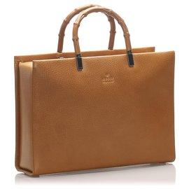 Gucci-Cartable Gucci en cuir de bambou marron-Marron,Marron clair