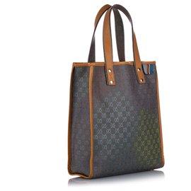 Gucci-Sac cabas à boucle Web en denim bleu GG Gucci-Marron,Bleu,Bleu foncé