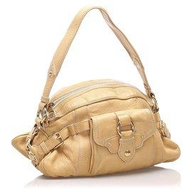 Céline-Celine Brown Leather Shoulder Bag-Brown,Beige