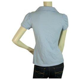 Moncler-MONCLER T-shirt bleu clair à manches courtes en coton à col polo en V profond sz XS-Bleu clair