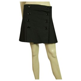 Burberry-Burberry Pleated Black Double breasted Cotton Mini skirt engraved buttons size 8-Black