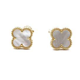 Van Cleef & Arpels-VAN CLEEF & ARPELS 18k Or Nacre Vintage Clip Alhambra Sur Boucles D'oreilles-Doré