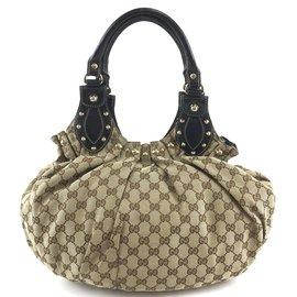 Gucci-Gucci Pelham Hobo Bag Toile GG beige et cuir-Beige
