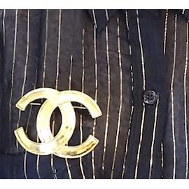 Chanel-Chanel Gold CC Interlocking Brooch-Golden