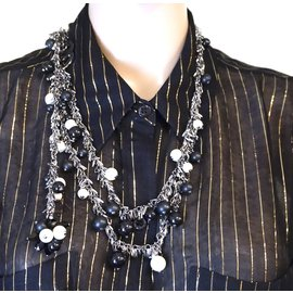 Chanel-Chanel Silver CC Tasseled Chain Pearl Bead Necklace-Silvery