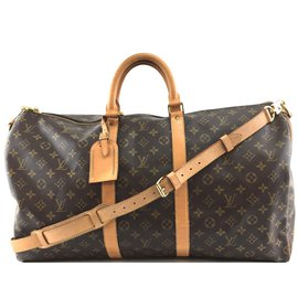 Louis Vuitton-Louis Vuitton Keepall 55 Bandouliere Monogram Canvas-Brown