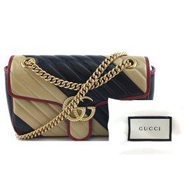 Gucci-Gucci Marmont Sac à Bandoulière Petit GG Cuir Beige Noir-Multicolore