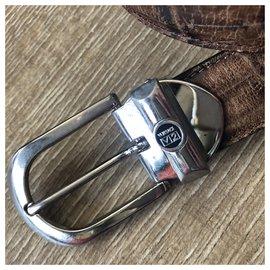 Versace-Vintage Versace V2 Leather belt with removable buckle-Beige