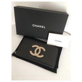 Chanel-Grand portefeuille zippé Chanel-Noir,Beige