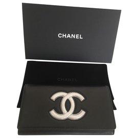 Chanel-Grand portefeuille avec bouton pression-Noir,Argenté