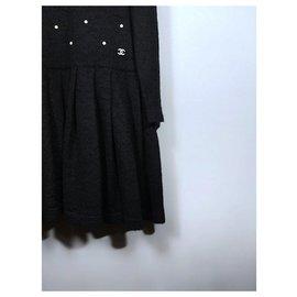 Chanel-pearl embellished dress-Black