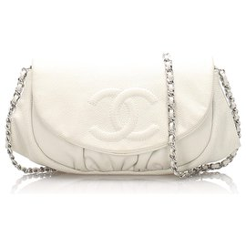 Chanel-Chanel White Caviar Leather Half Moon Wallet on Chain-White,Cream