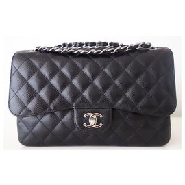 Chanel-CHANEL CLASSIC BAG GM CAVIAR BLACK-Black