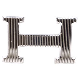 Hermès-Hermes 32mm Calandre H Silver Reversible Belt Size 95-Blue