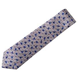 Autre Marque-André-Claude Canova Printed silk twill tie, hand climb,-Blue,Grey