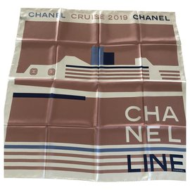 Chanel-CHANEL silk scarf-Multiple colors