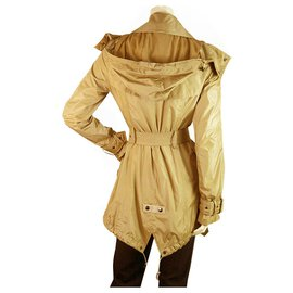 Burberry-Burberry Camel Polyamide Imperméable Mac Belted Trench Jacket Manteau taille US4, UK6-Noisette