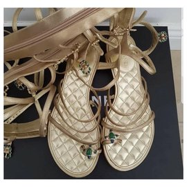 Chanel-CHANEL  Gladiator Sandals Sz 40 auth-Golden